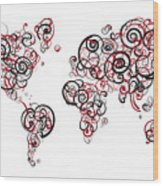 Harvard University Colors Swirl Map Of The World Atlas Wood Print