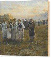 Harvest Festival By Alfred Wierusz-kowalski 1849-1915 Wood Print