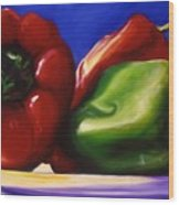 Harvest Festival Peppers Wood Print
