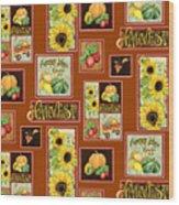 Harvest Market Pumpkins Sunflowers N Red Wagon Wood Print