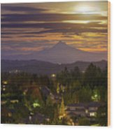 Harvest Moon 2016 Moonrise Over Happy Valley Oregon Wood Print