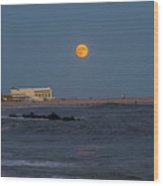 Harvest Moon Over Cape May Wood Print