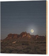 Harvest Moon Over Superstition Mountain Wood Print