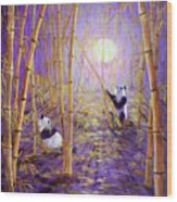 Harvest Moon Pandas  Wood Print