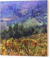 Harvest Time At The Vineyard Wood Print by Elaine Plesser