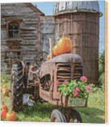 Harvest Time Vintage Farm With Pumpkins Wood Print