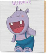 Harvey Hippo Go For It Lt Wood Print