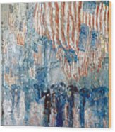 Hassam Avenue In The Rain Wood Print