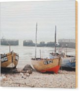 Hastings England Beached Fishing Boats Wood Print