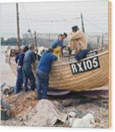 Hastings England Fishermen On Boat Wood Print