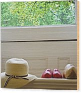 Hat And Clogs Wood Print