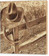 Hat And Lariat Wood Print