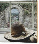 Hat In Window Wood Print
