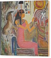 Hathor And Horus Wood Print
