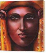 Hathor- The Goddess Wood Print by Carmen Cordova
