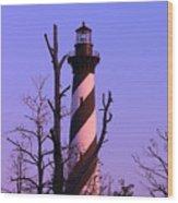 Hatteras Light And Tree Wood Print
