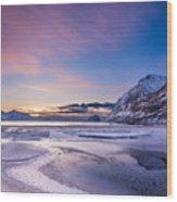Haukland Sunset - Vertical Wood Print