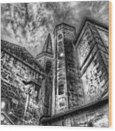 Haunted Church In Black And White Wood Print