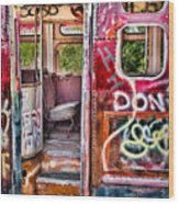 Haunted Graffiti Art Bus Wood Print
