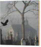 Haunted Halloween Cemetery Wood Print