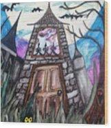 Haunted House Wood Print by Jenni Walford