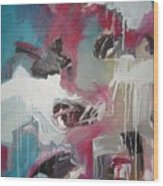 Haunted Voice-blue Red Painting Wood Print