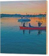 Havasu Canoe Ride At Sunrise Wood Print