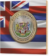 Hawaii Great Seal Over State Flag Wood Print