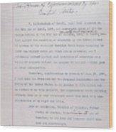 Hawaii. Letter From Liliuokalani, Queen Wood Print