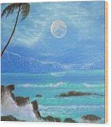 Hawaii Night Seascape Wood Print