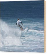 Hawaii Pipeline Surfer Wood Print