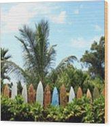 Hawaii Surfboard Fence Wood Print by Michael Ledray