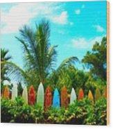Hawaii Surfboard Fence Photograph  Wood Print by Michael Ledray