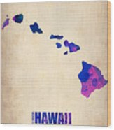 Hawaii Watercolor Map Wood Print by Naxart Studio