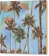 Hawaiian Cottage With Pink And Red Tropical Flowers Wood Print