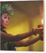 Hawaiian Dancer And Firepots Wood Print
