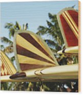 Hawaiian Design Surfboards Wood Print by Vince Cavataio - Printscapes