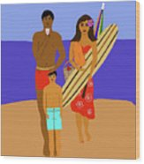 Hawaiian Family Beach Scene Wood Print