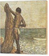 Hawaiian Fisherman Painting Wood Print