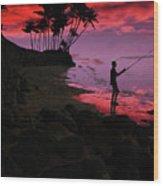 Hawaiian Fishing On Halama Beach At Sunset Wood Print