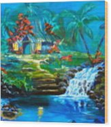 Hawaiian Hut And Waterfalls Wood Print