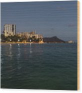 Hawaiian Lights - Waikiki Beach And Diamond Head Volcano Crater Wood Print
