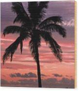Hawaiian Sunset With Coconut Palm Tree Wood Print