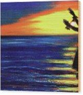 Hawaiian Sunset With Hula Dance  #183, Wood Print
