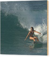 Hawaiian Surfer Girl Bottom Turn Wood Print