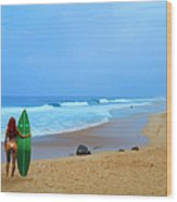 Hawaiian Surfer Girl Wood Print