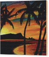 Hawaiian Waikiki Sunrise Over Diamond Head  #266 Wood Print