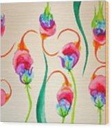 Hawaiian Warrior Upside-down Flowers Wood Print