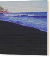 Hawaiin Black Sand Beach Wood Print