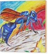 Hawk Wasp Wood Print